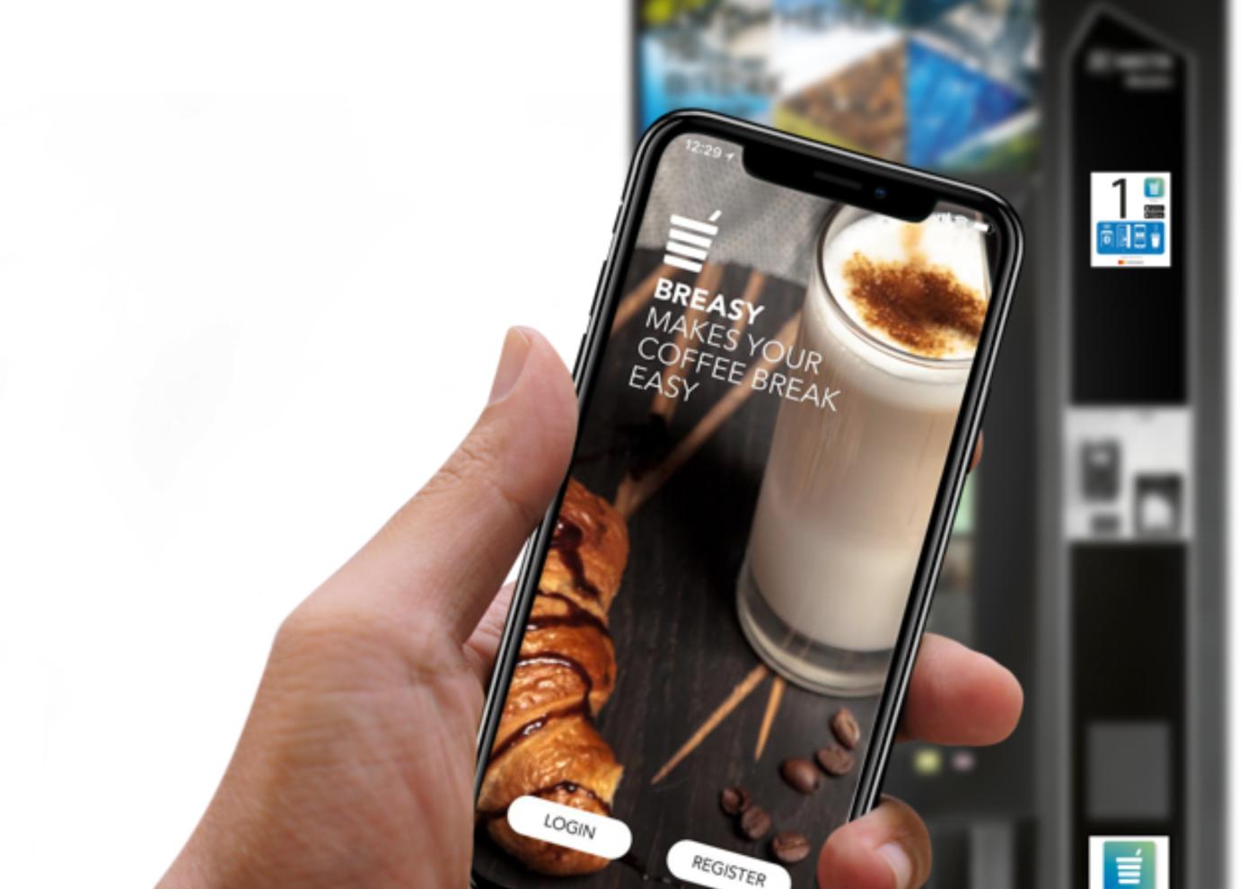 smartphone affichant l'application breasy